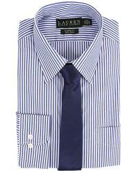 Lauren by Ralph Lauren - Bengal Stripe Spread Collar Classic Button Down Shirt (blue/white) Men's Long Sleeve Button Up - Lyst