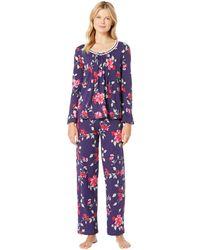 Carole Hochman - Soft Jersey Long Pajama Set (large Red Floral) Women's Pajama Sets - Lyst