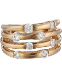 Guess - 4 Band Stone Ring (rose Gold) Ring - Lyst