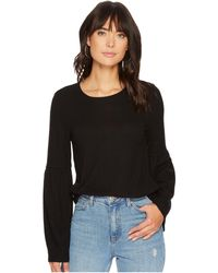 Kensie - Plush Touch Top With Bell Sleeves Ks0k3611 (black) Women's Clothing - Lyst