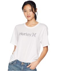 Hurley - One And Only Solid Perfect Short Sleeve Crew (white/black) Women's Clothing - Lyst