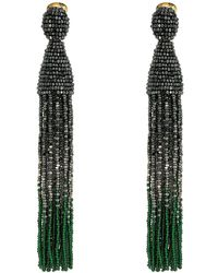 Oscar de la Renta - Long Ombre Beaded Tassel C Earrings - Lyst