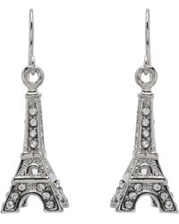 Betsey Johnson | Crystal Rhodium Eiffel Tower Drop Earrings | Lyst