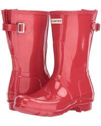 HUNTER - Original Back Adjustable Short Gloss Rain Boots (flare) Women's Rain Boots - Lyst