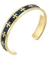 Tory Burch - Enamel Raised Logo Cuff Bracelet (tory Navy/tory Gold) Bracelet - Lyst