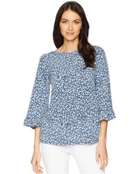 MICHAEL Michael Kors - Collage Floral Flare Sleeve Top (true Navy/light Chambray) Women's Clothing - Lyst