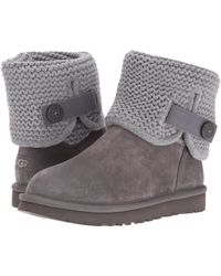 Ugg | ® Shaina Knit Top Leather Strap Boots | Lyst