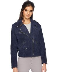 Blank NYC - Real Suede Moto Jacket In Starry Night (starry Night) Women's Coat - Lyst