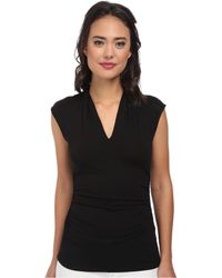 Vince Camuto - S/l Pleat V-neck Top (rich Black) Women's Sleeveless - Lyst