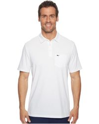 Vineyard Vines - Solid Edgartown Performance Polo (white Cap) Men's Clothing - Lyst