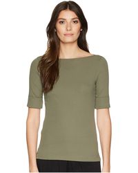 Lauren by Ralph Lauren - Cotton Boat Neck T-shirt (calla Lily) Women's T Shirt - Lyst