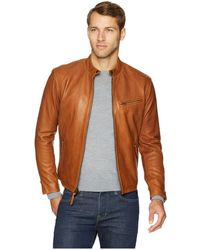 Polo Ralph Lauren - Cafe Racer Leather Jacket (old Amber) Men s Coat - Lyst 2cade7bd512a1