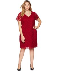 Lauren by Ralph Lauren - Plus Size Panel Lace Gordy Short Sleeve Day Dress (vibrant Garnet) Women's Dress - Lyst