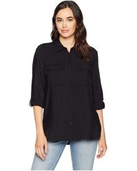 Two By Vince Camuto - Long Sleeve Flowy Rumple Relaxed Utility Shirt (rich Black) Women's Clothing - Lyst