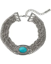 Steve Madden - Oval Turquoise Stone W/ Four Row Chain Choker Necklace - Lyst