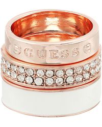 Guess - 3 Band Ring Set - Enamel, Logo And Pave Bands - Lyst
