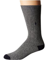Polo Ralph Lauren - Single Cashmere Rib Heel/toe (light Grey Heather) Men's Crew Cut Socks Shoes - Lyst