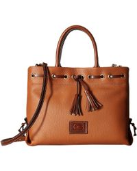 Dooney & Bourke - Wakefield Tassel Tote (midnight Blue/chestnut Trim) Tote Handbags - Lyst