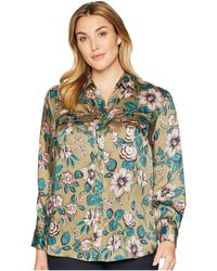 Lauren by Ralph Lauren - Plus Size Floral-print Button-down Shirt (olive Multi) Women's Long Sleeve Button Up - Lyst