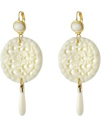 Kenneth Jay Lane - Large Top/round Carved Bottom W/ Drop Earrings (ivory) Earring - Lyst