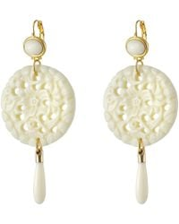 Kenneth Jay Lane - Large Top/round Carved Bottom W/ Drop Earrings - Lyst