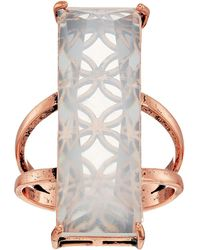 Guess - Long Rectangular Faux Stone Ring - Lyst