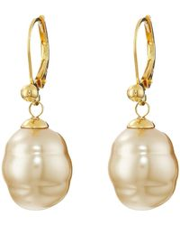 Majorica - 12mm Baroque Pearl Drop Earrings (champagne) Earring - Lyst