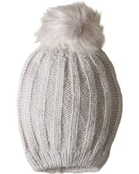 f534a54e9db Hat Attack - Soft Rib Slouchy With Faux Pom (ivory natural Brown Pom)