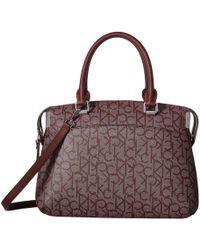 Calvin Klein - Raelynn Monogram Satchel (almond/khaki/cashew Saffiano) Satchel Handbags - Lyst