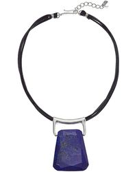 Robert Lee Morris - Brown Leather And Lapis Stone Pendant Necklace - Lyst