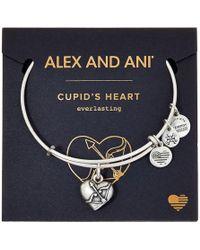 ALEX AND ANI - Path Of Symbols - Cupid's Heart Ii Charm Bangle (rafaelian Silver Finish) Bracelet - Lyst