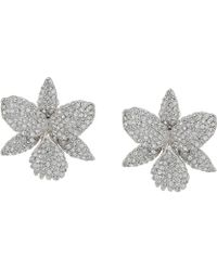 Nina - Large Pave Orchid Clip Swarovski Crystals Earrings (rhodium/white) Earring - Lyst