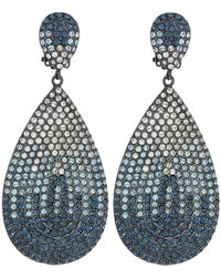 Nina - Tear Drop Disk Pave Clip Earrings; Elements Of Swarovski (black Rhodium/ombre Blue Denim) Earring - Lyst