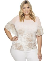 CK Calvin Klein - Plus Size Short Sleeve Printed Top With Gather - Lyst