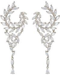 Nina - Fern Front/back Chandelier Earrings (rhodium/white Cz) Earring - Lyst