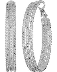Guess - Medium Triple Textured Wire Hoop Earrings (rose Gold) Earring - Lyst