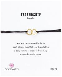 Dogeared - Friendship Double Linked Rings Silk Bracelet (black/gold Dipped) Bracelet - Lyst