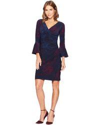 Lauren by Ralph Lauren - Joyous Floral Matte Jersey Elsietta 3/4 Sleeve Day Dress (lighthouse Navy/berry/porter Blue) Women's Dress - Lyst
