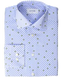 22a08d60 Eton of Sweden - Slim Fit Avocado Shirt (blue) Men's Long Sleeve Button Up