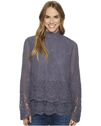 Dylan By True Grit | Pretty Fringed Crochet Long Sleeve Double Layer Pullover With Lining | Lyst