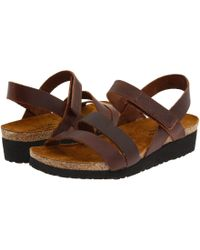 0f20868a8546 Lyst - Naot Kayla (black Luster Leather) Women s Sandals in Metallic