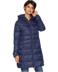 Save The Duck - Long Hooded Basic (navy) Women's Coat - Lyst