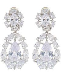Nina - Small Cz Cluster Teardrop Clip Earrings (rhoidum/white Cz) Earring - Lyst
