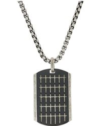 """Steve Madden - Small Cross Pattern Dogtag Necklace With 18"""" Box Chain - Lyst"""