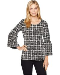 Calvin Klein - Flare Sleeve Mix Jacquard Top (black Abstract) Women's Clothing - Lyst
