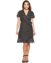 Tahari - Petite Polka-dot Faux Wrap Dress - Lyst