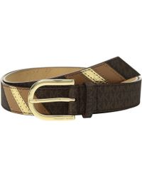MICHAEL Michael Kors - 32mm Fashion Signature Color Block Belt (chocolate Logo) Women's Belts - Lyst