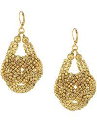 Kenneth Jay Lane - Gold Seedbead Knotted Fishhook Earrings (gold) Earring - Lyst