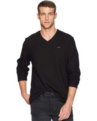Calvin Klein - Long Sleeve Fabric Blocked V-neck (wolf Grey Heather) Men's Clothing - Lyst