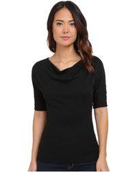 Michael Stars - Shine Elbow Sleeve Drape Neck Top - Lyst